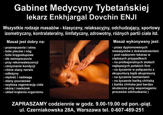 Ulotka masażów oferowanych przez Gabinet Medycyny Tybetańskiej - ul. Czerniakowska 28A, WARSZAWA, lekarz Enkhjargal Dovchin, ENJI. Wszystkie rodzaje masażów. AKUPUNKTURA I AKUPRESURA. Dymplomowani specjaliści.